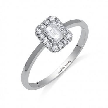 Anillo Oro Blanco Diamante...